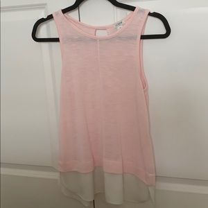 JCrew XS Pink and White Layered Top